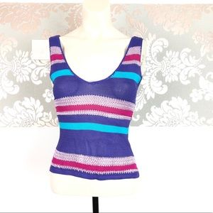 Guess Collection Striped VNeck Knit Tank Sz M